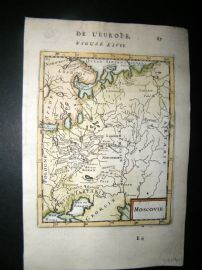 Mallet 1683 Antique Hand Col Map. Moscovie, Russia